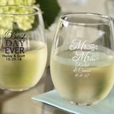 Personalized 15oz Wedding Words Stemless Wine Glasses (25 Designs)