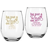Personalized 'He Put a Ring on It' Design 9 oz. Stemless Wine Glasses
