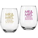 "Personalized Block ""Mr. & Mrs."" 9 oz Stemless Wine Glasses"