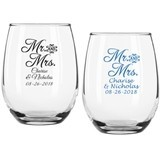 "Personalized Script ""Mr. & Mrs."" 9 oz Stemless Wine Glasses"
