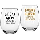 "Personalized ""Lucky in Love"" 9 oz. Stemless Wine Glasses"