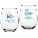 "Personalized ""We Tied the Knot"" 9 oz. Stemless Wine Glasses"