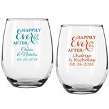 "Personalized ""Happily Ever After"" 9 oz Stemless Wine Glasses"