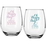 "Personalized ""Oh Happy Day"" 9 oz. Stemless Wine Glasses"