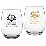 "Personalized ""The Hunt is Over"" 9 oz. Stemless Wine Glasses"