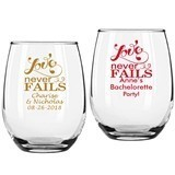 "Personalized ""Love Never Fails"" 9 oz Stemless Wine Glasses"