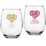 Personalized 'All You Need is Love' 9 oz. Stemless Wine Glasses
