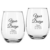 "Personalized ""Your Design"" Stemless Wine Glasses"