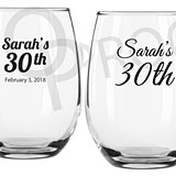 Personalized 9 oz. Milestone Birthday Designs Stemless Wine Glasses