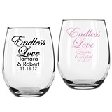 "Personalized ""Endless Love"" Design Stemless Wine Glasses"