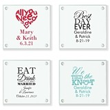 "Personalized ""Wedding Words"" Glass Coasters (25 Designs)"