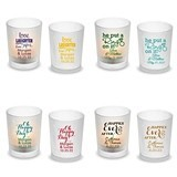 Personalized 'Wedding Words' Designs Frosted Glass Votive (25 Designs)