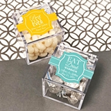 Acrylic Favor Boxes with Custom 'Wedding Words' Stickers (25 Designs)