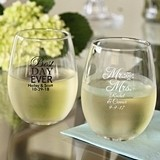 Personalized 9 oz. Wedding Words Stemless Wine Glasses (25 Designs)