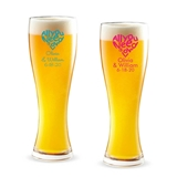 Personalized All You Need is Love Heart Design 16oz Pilsner Beer Glass