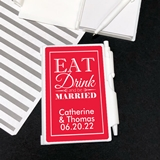 Notebook Favor - Personalized 'Eat Drink & Be Married' Sticker on Case