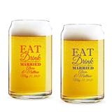 Personalized 'Eat Drink & Be Married' Design 16oz Can-Shaped Glass