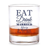 Personalized 'Eat Drink & Be Married' Design 9 oz. Whiskey Rocks Glass
