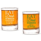 Personalized 'Eat Drink and Be Married' Shot Glass/Votive Holder