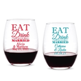 Personalized 'Eat Drink and Be Married' 9 oz. Stemless Wine Glasses
