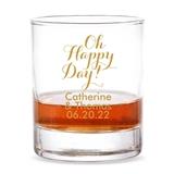 Personalized 'Oh Happy Day!' Design 9 oz. Whiskey Rocks Glass
