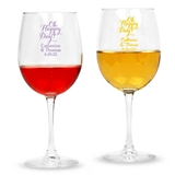 Personalized Script 'Oh Happy Day!' Design Stemmed 12oz Wine Glasses
