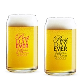 Personalized 'Best Day Ever' Design 16oz Beer Can-Shaped Glass