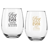 "Personalized 9 oz ""Best Day Ever"" Design Stemless Wine Glass"