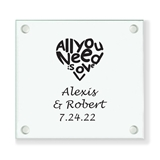 Personalized 'All You Need is Love' Glass Coaster (18 Ink Colors)