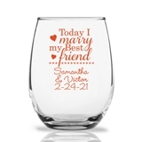 Personalized 15oz 'Today I Marry My Best Friend' Stemless Wine Glasses