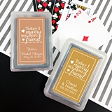 Playing Cards Deck with Personalized 'Today I Marry…' Sticker on Case
