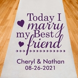 Personalized 'Today I Marry My Best Friend' Aisle Runner (19 Colors)