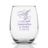 Personalized 15oz Script 'At Last' Design Stemless Wine Glasses