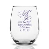 Personalized 15oz Script 'At Last' Design Stemless Wine Glasses