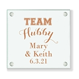 Personalized 'Team Hubby' Design Glass Coaster (18 Ink Colors)