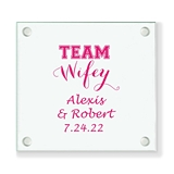 Personalized 'Team Wifey' Design Glass Coaster (18 Ink Colors)