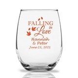 "Personalized 15oz ""Falling in Love"" Stemless Wine Glasses"