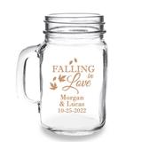 Personalized 'Falling in Love' Design 16oz Mason Jar Mug with Handle