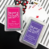 Playing Cards Deck w/ Personalized He Put a Ring on It Sticker on Case