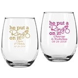 "Personalized ""He Put a Ring on It"" 9 oz. Stemless Wine Glass"