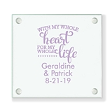 Personalized 'With My Whole Heart' Glass Coaster (18 Ink Colors)