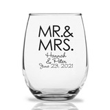 Personalized 15oz Block 'MR. & MRS.' Design Stemless Wine Glasses