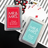 Deck of Playing Cards with Personalized Block MR & MRS Sticker on Case