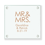 Personalized Block Font Mr & Mrs Design Glass Coaster (18 Ink Colors)