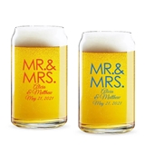 Personalized 'MR. & MRS.' Block Design 16oz Beer Can-Shaped Glass