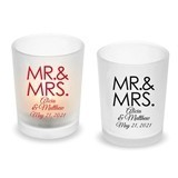 Personalized Block 'MR & MRS' Design Frosted Glass Votive (18 Colors)