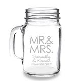 Personalized MR. & MRS. Block Design 16oz Mason Jar Mug with Handle