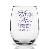 Personalized 15oz Script 'Mr. and Mrs.' Design Stemless Wine Glasses