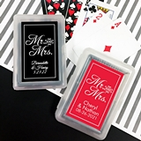 Playing Cards Deck with Personalized Script Mr & Mrs Sticker on Case