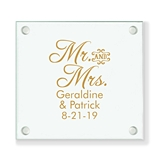 Personalized Script 'Mr & Mrs' Design Glass Coaster (18 Ink Colors)